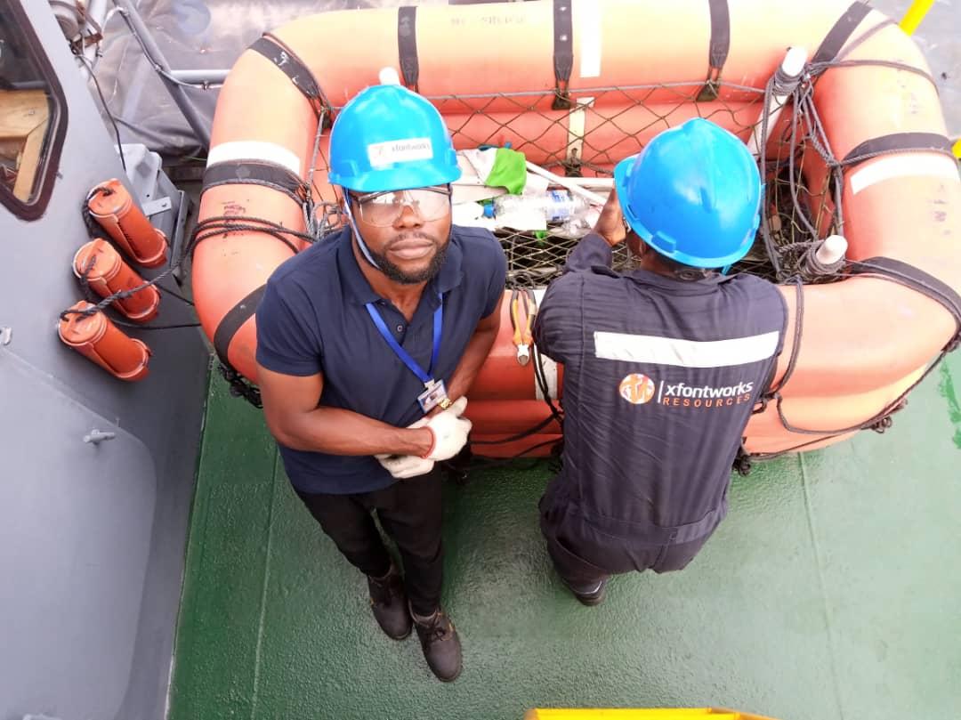 Surveillance job on a moving vessel in the Niger Delta coast im Nigeria
